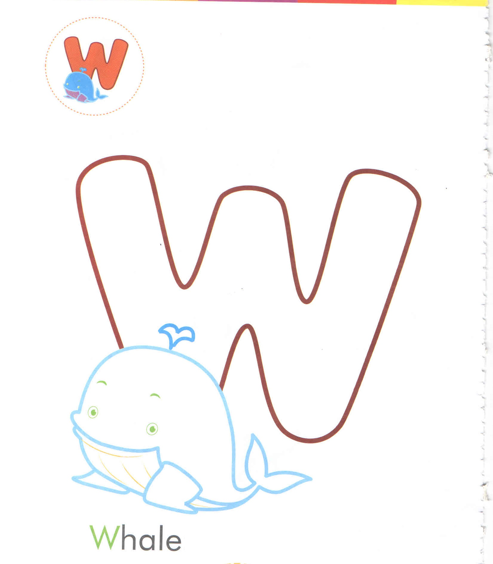 alphabet letter w whale coloring page for preschool Preschool Crafts