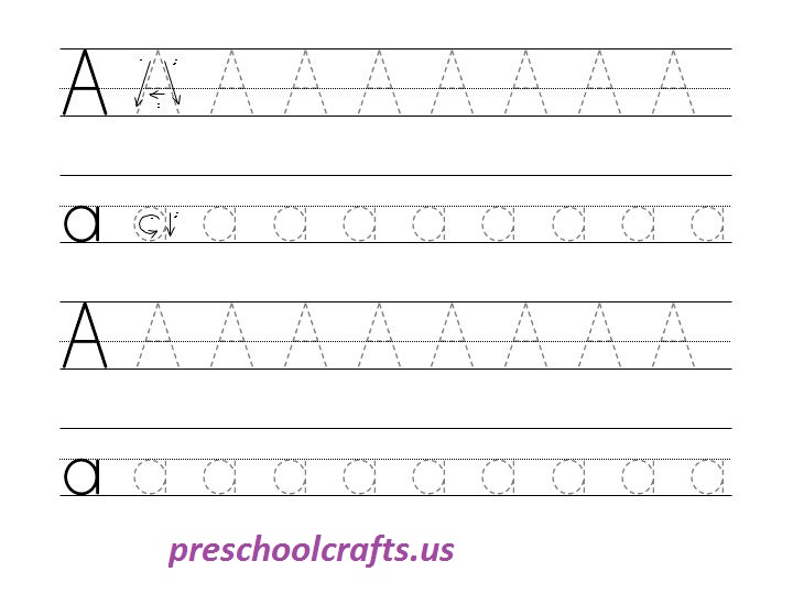 alphabet capital and small letter a tracing worksheet preschool crafts. Black Bedroom Furniture Sets. Home Design Ideas