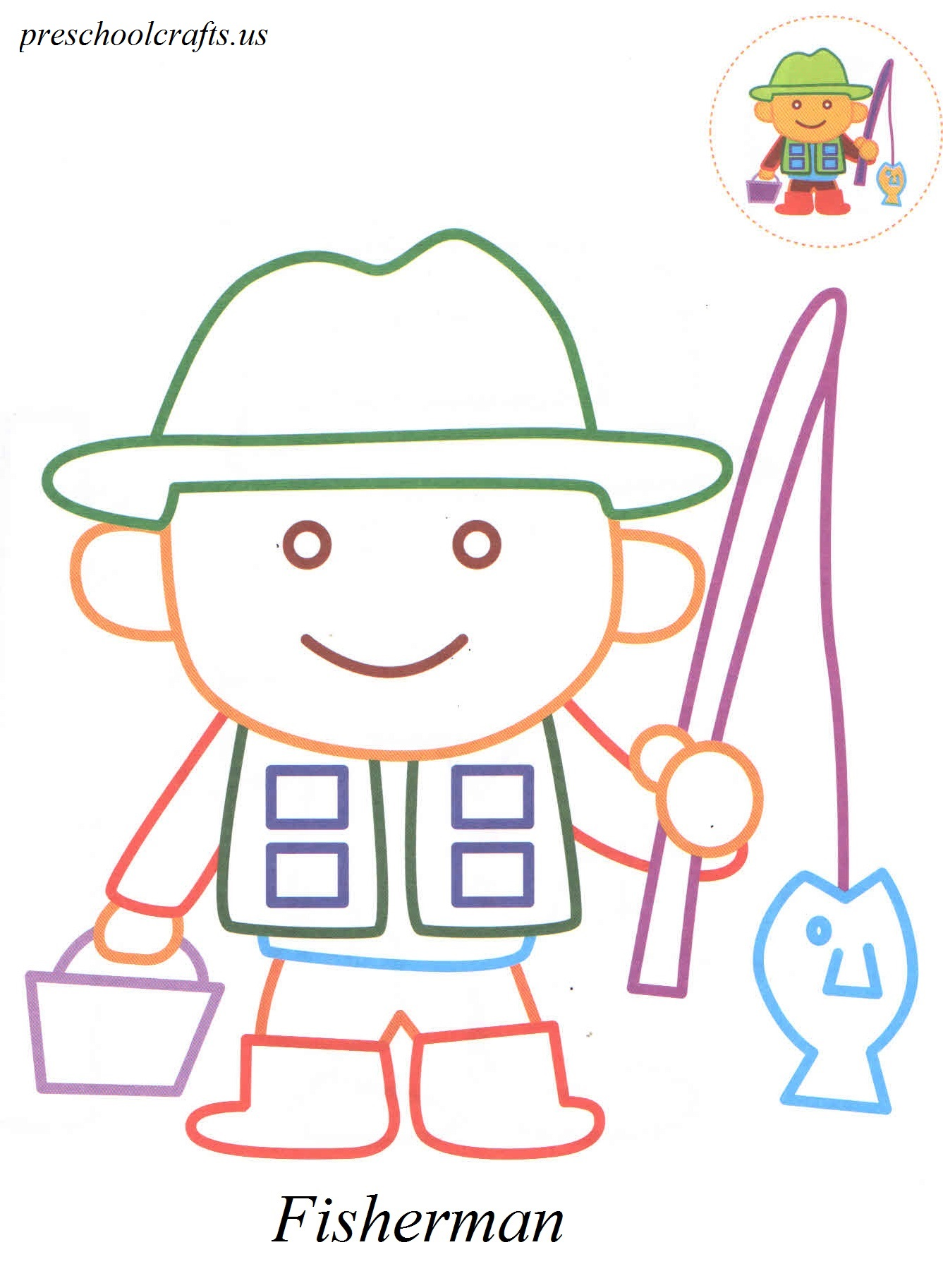 fisherman coloring pages Preschool Crafts