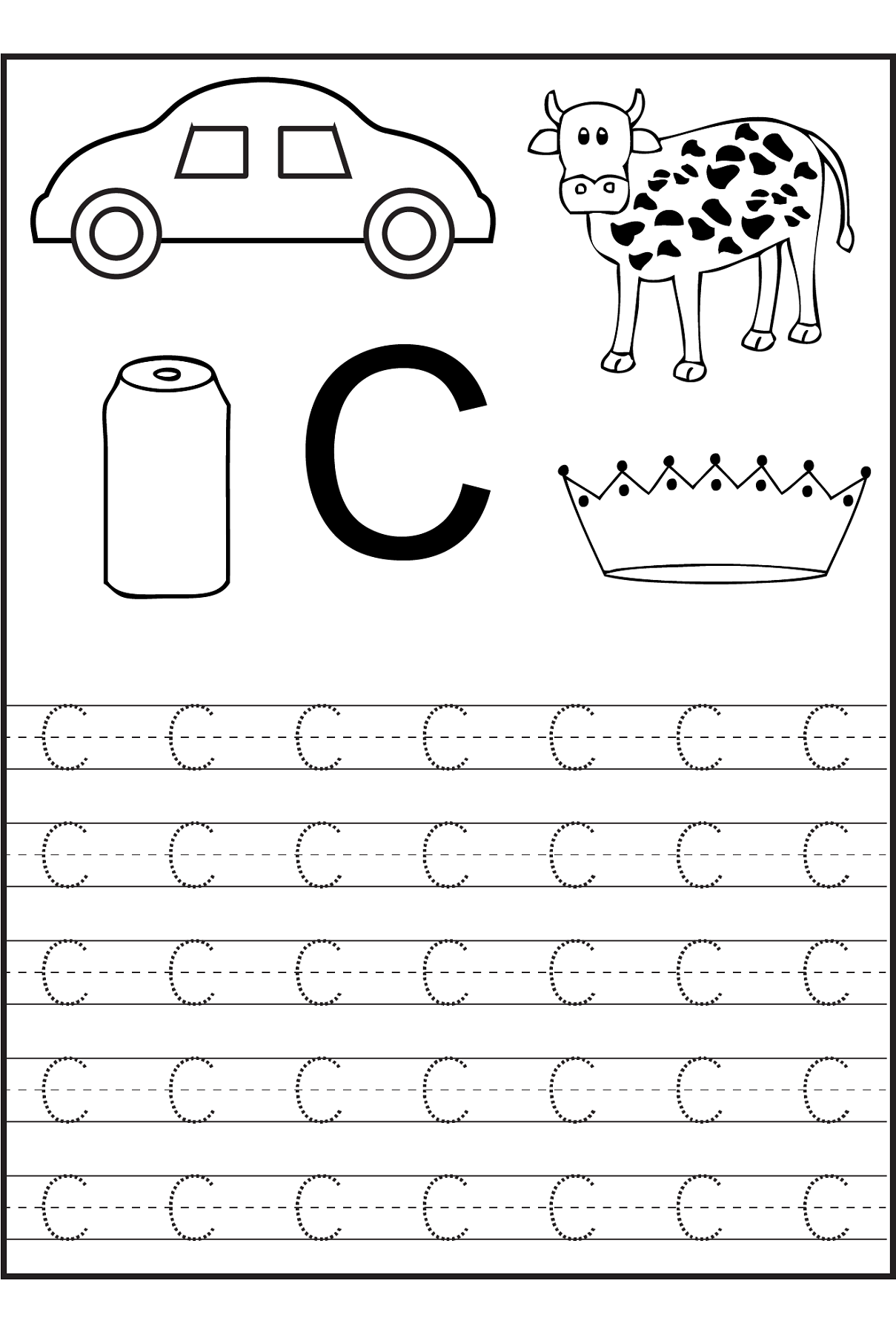 Worksheets Letter C Worksheets Preschool free trace the letter c simple preschool crafts simple
