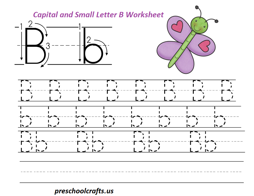 letter b worksheets preschool and kindergarten - Worksheets For Nursery Kids