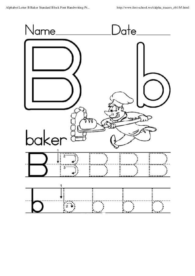 printableletterbworksheetforwritingpractice Preschool Crafts – Letter B Worksheets