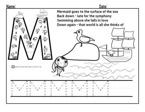Tracing Letter M Worksheets Preschool Crafts