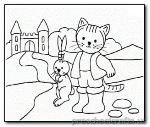 cat and rabbit coloring page