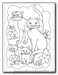 cat family colouring