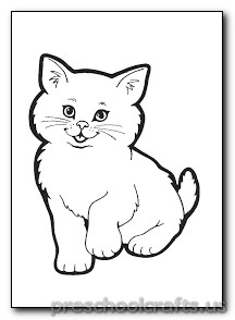Kitten Coloring Pages - Preschool and Kindergarten