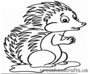 hedgehog coloring page for preschoolers