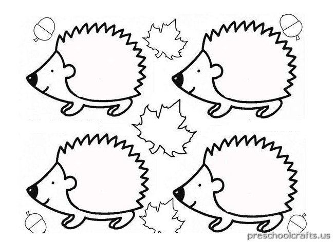 hedgehog coloring pages for kindergarten Preschool Crafts