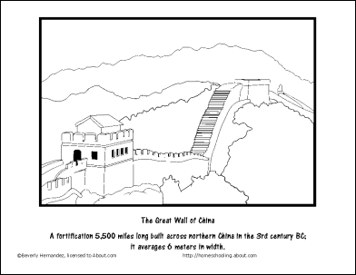 great wall of china coloring page - the great wall of china chinese national day coloring