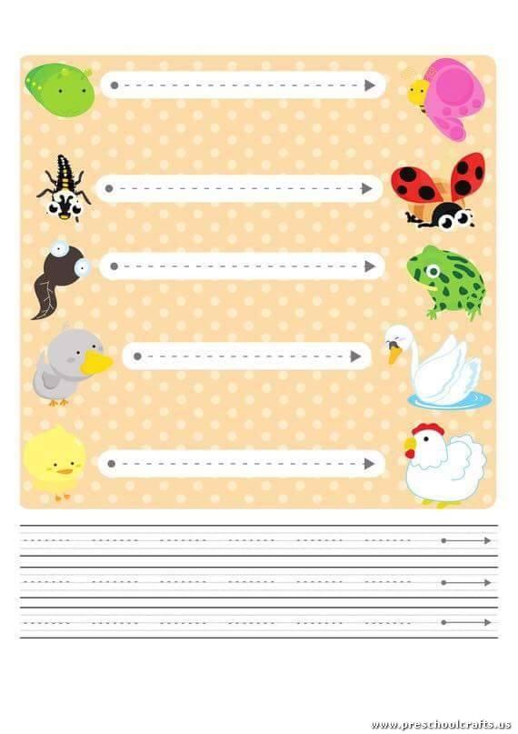 Trace horizontal line worksheets for kids Preschool Crafts