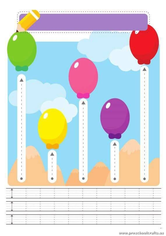 Line Design Art Activities : Trace vertical line worksheets preschool crafts