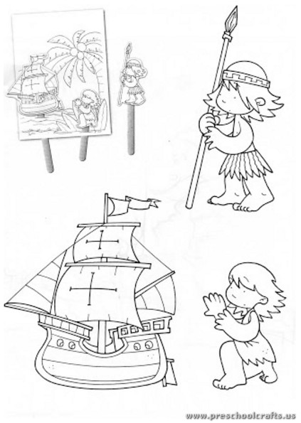 Columbus Day Coloring Pages For Kindergarten : Christopher columbus day coloring pages for kindergarten