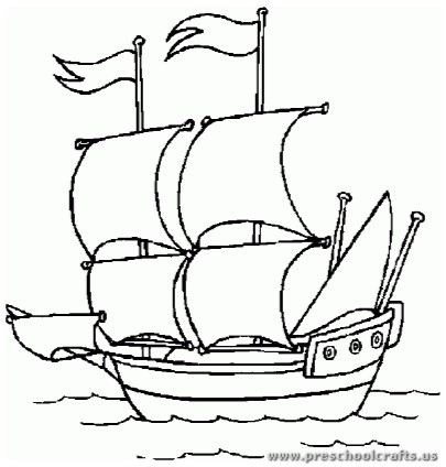 Christopher columbus day coloring pages preschool for Columbus coloring page