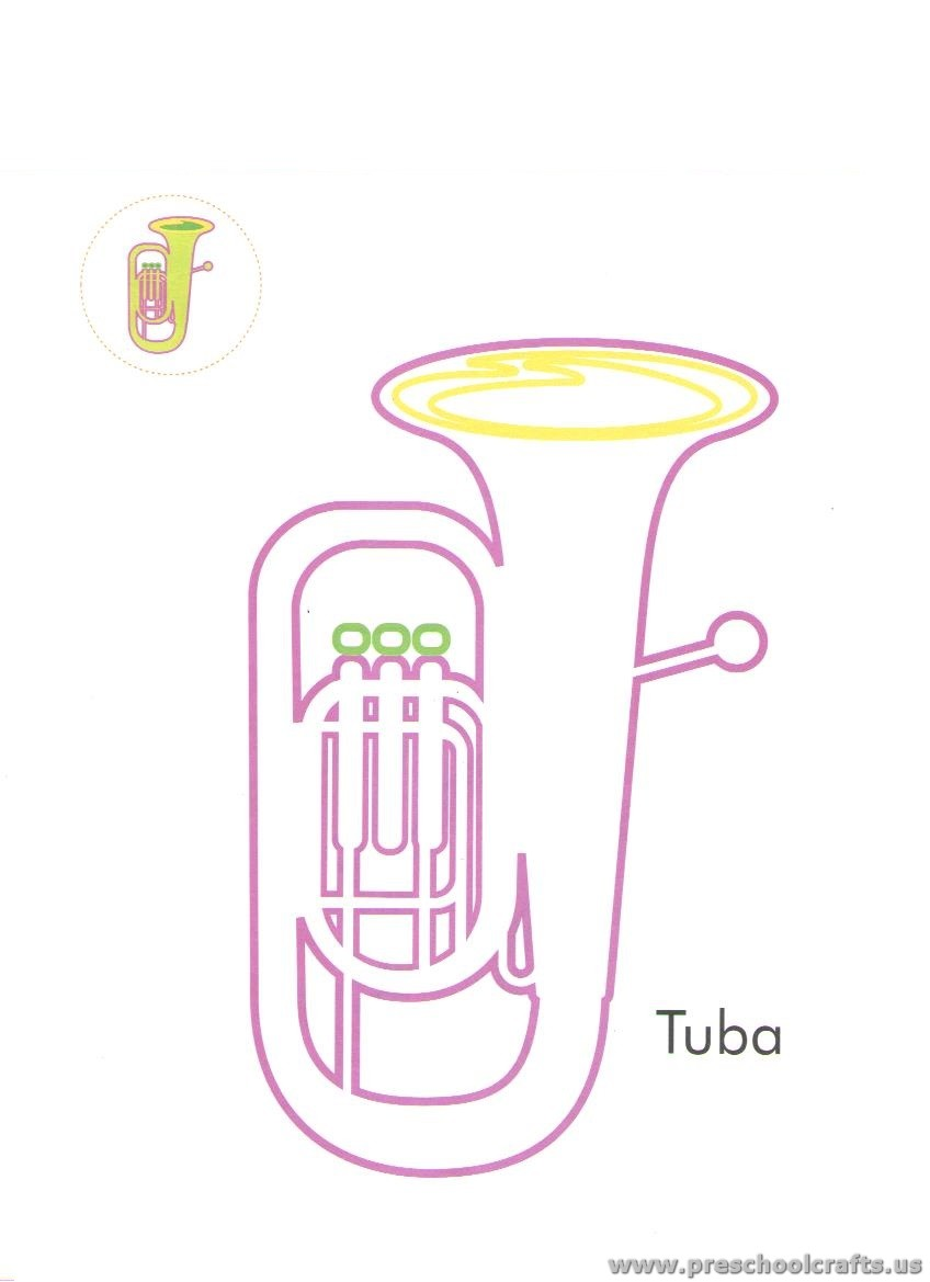 Musical Instrument Coloring Pages For Kids Preschool And
