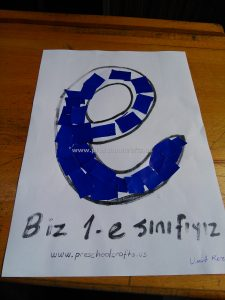 Letter e Crafts ideas - blue-letter-e-crafts-for-firstgrade