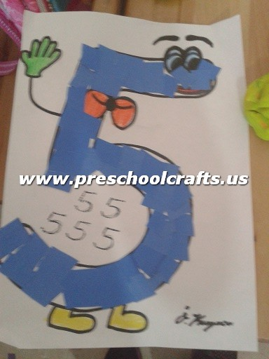 Cut and paste number 5 craft ideas preschool crafts for Number 5 decorations