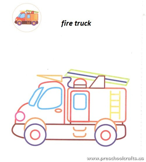 Fire Truck Coloring Pages For Kindergarten