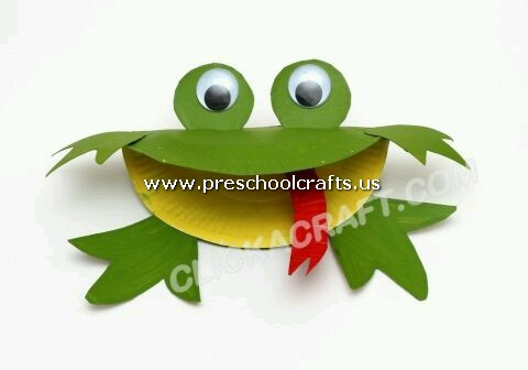 frog-craft-from-paper-plate & Animals Crafts from Paper Plate for Kids - Preschool and Kindergarten
