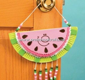 watermelon-craft-from-paper-plate