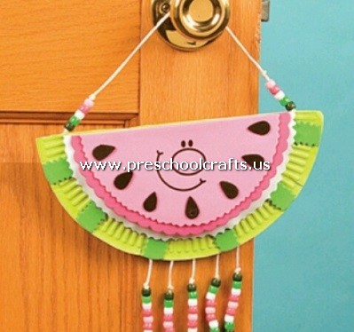 paper plate watermelon craft Celebrate summer by creating adorable paper plate watermelon suncatchers with the kids this craft is easy and fun to make cut the paper plate in half.