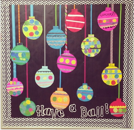 christmas balls craft ideas for bulletin board