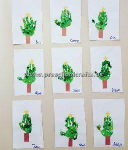 hand print christmas tree for kids