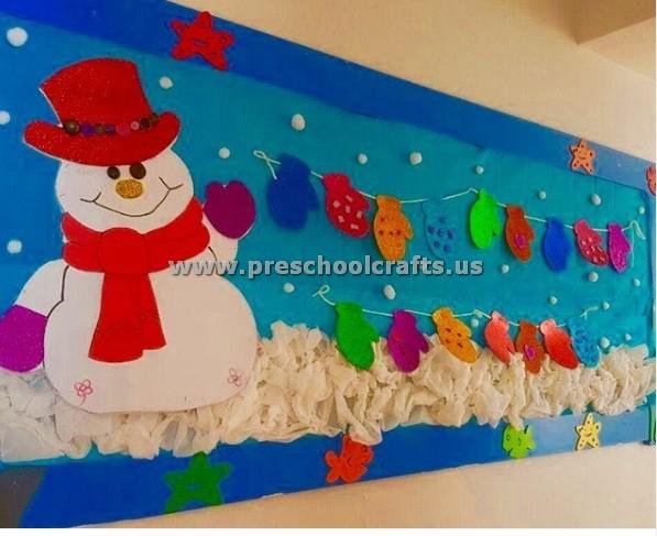 Winter Season Classroom Decorations ~ Winter season snowman craft ideas for bulletin board