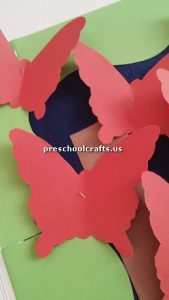 Make butterfly with colored paper for kindergarten