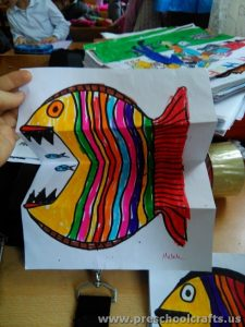 color and folding paper activity for fish