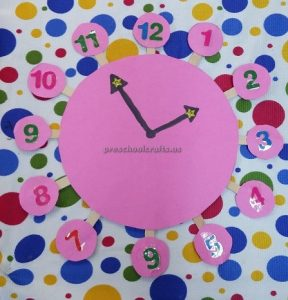 craft ideas related to clock for preschool