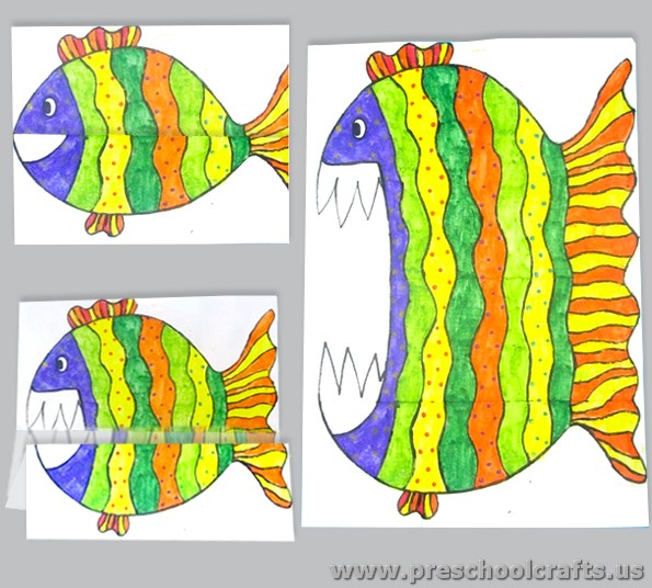 Folding paper fish activities for kids preschool crafts for Paper folding art projects