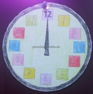 wall clock crafts for kindergarten