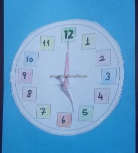 wall clock theme craft for kindergarten