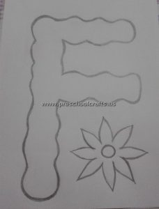 flower letter f template for alphabet craft ideas