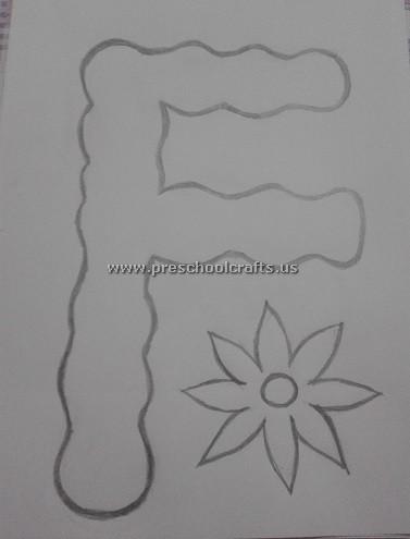 Flower letter f template for alphabet craft ideas for Preschool flower crafts templates