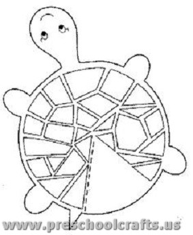 glue less printable turtle craft for kids