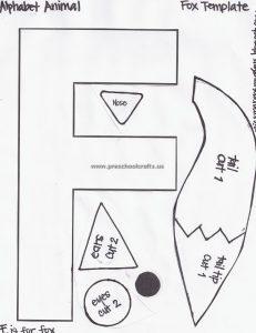 letter f fox template for preschool