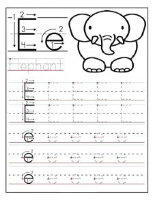 letter e worksheet for firstgrade