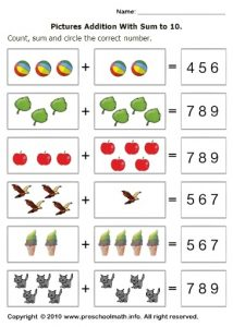 Colored pictures addition with sum to 10 math worksheets
