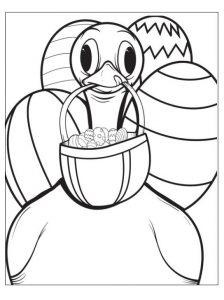 Coloring Pages to Duck With Easter Eggs
