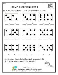 Domino addition worksheet for preschool