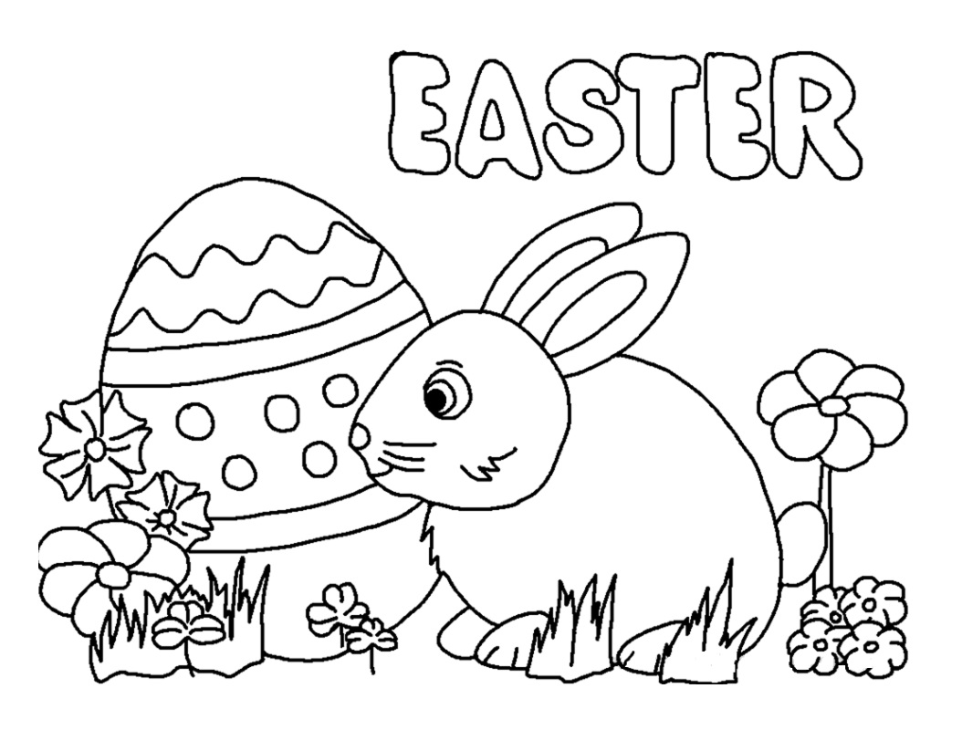 easter bunny coloring in pages | Easter Bunny Egg Coloring Pages - Preschool Crafts