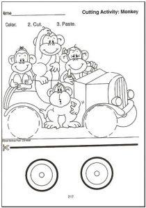 Easter Color Cut Paste Worksheet for Preschool