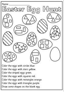 Easter Egg Hunt Worksheet for Preschool