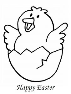 Happy Easter Chick Colouring For Kindergarten