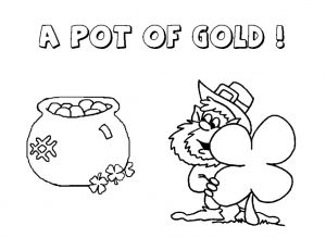Happy St. Patrick's Day a pot of gold coloring pages for preschool