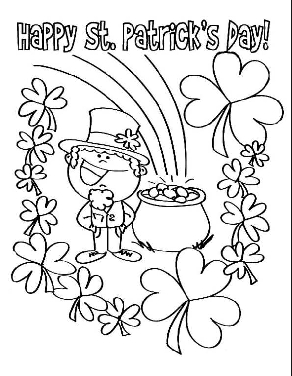 leprechaun coloring pages st patricks day appetizers | Happy St. Patrick's Day coloring pages for preschooler ...