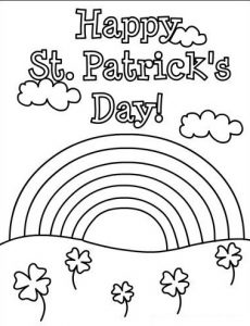 Happy St. Patrick's Day rainbow coloring pages for preschooler