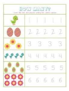 How Many Easter Worksheet for Preschool