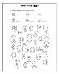 How Many Eggs Happy Easter Worksheet for Preschool